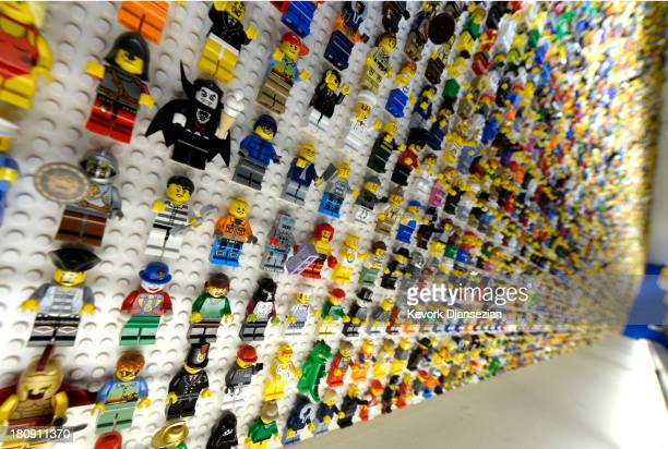 Over 5000 Lego toys are seen on a wall behind the reception desk of North America's first ever Legoland Hotel at Legoland on September 17 2013 in...