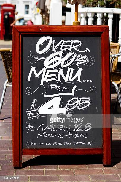Over 60s menu board outside a pub