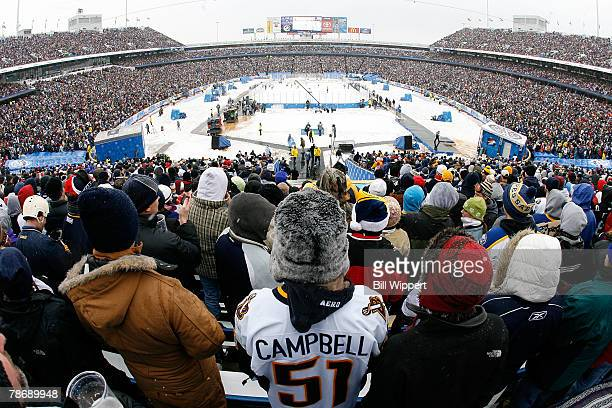 Over 73000 fans watch the Buffalo Sabres play the Pittsburgh Penguins in the NHL Winter Classic on January 1 2008 at Ralph Wilson Stadium in Orchard...