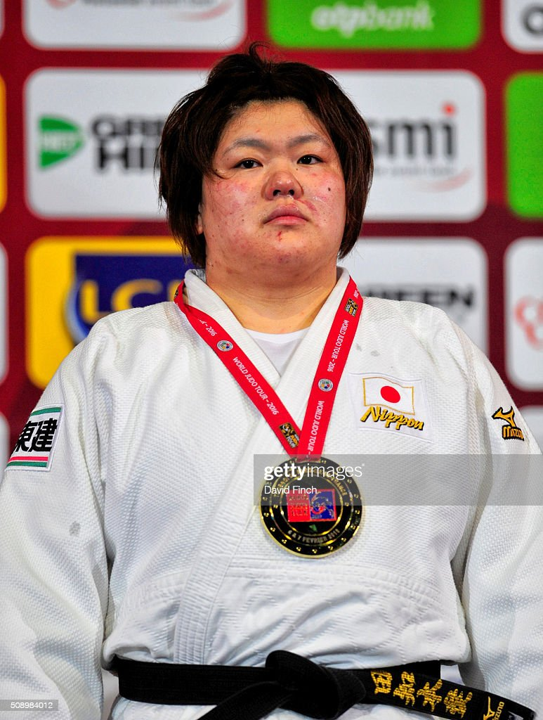 Over 78kg gold medallist, <a gi-track='captionPersonalityLinkClicked' href=/galleries/search?phrase=Megumi+Tachimoto&family=editorial&specificpeople=5645971 ng-click='$event.stopPropagation()'>Megumi Tachimoto</a> of Japan during the Paris Grand Slam, Sunday, 7 February, 2016 at the AccorHotels Arena, Bercy, Paris, France.