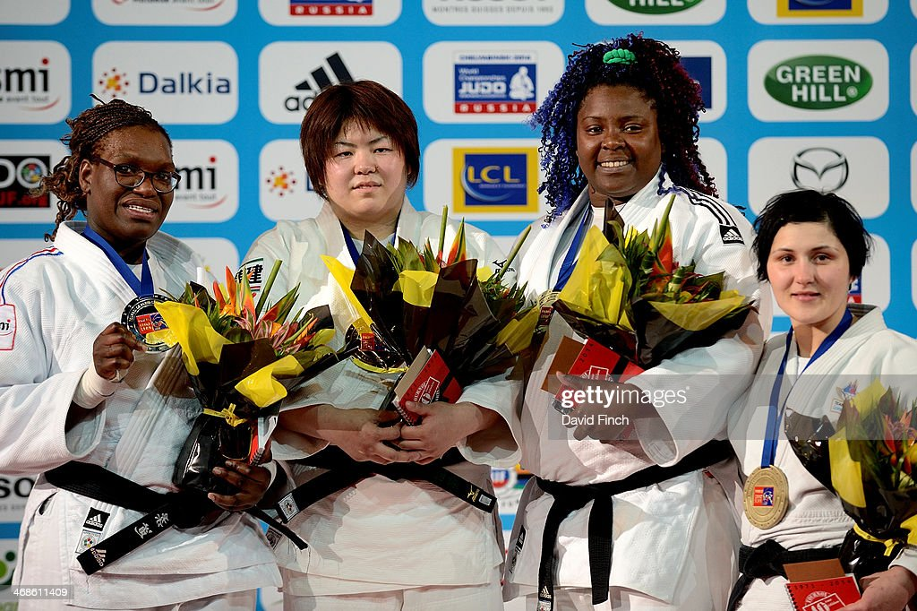 Silver - Emilie Andeol FRA, Gold - Kanae Yamabe JPN, Bronze - Idalys Ortiz CUB and Lucija Polavder SLO during the Paris Grand Slam on Sunday, February 09, 2014 at the Palais Omnisports de Paris, Bercy, Paris, France.