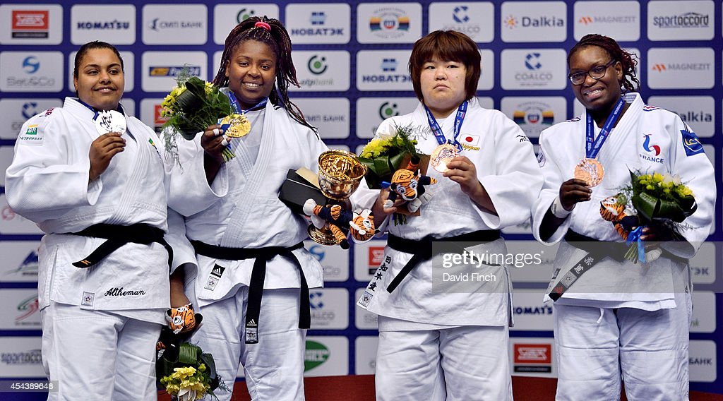 Over 78kg medallists stand on the podium L-R: Silver; Marie Suelen Altheman of Brazil, Gold; <a gi-track='captionPersonalityLinkClicked' href=/galleries/search?phrase=Idalys+Ortiz&family=editorial&specificpeople=5492242 ng-click='$event.stopPropagation()'>Idalys Ortiz</a> of Cuba, Bronzes; <a gi-track='captionPersonalityLinkClicked' href=/galleries/search?phrase=Megumi+Tachimoto&family=editorial&specificpeople=5645971 ng-click='$event.stopPropagation()'>Megumi Tachimoto</a> of Japan and Emilie Andeol of France during the Chelyabinsk Judo World Championships at the Sport Arena 'Traktor' on August 30, 2014 in Chelyabinsk, Russia.