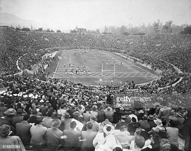Over 93000 spectators pack the stands of the Rose Bowl just before kickoff in the game between California and Northwestern on New Year's Day played...