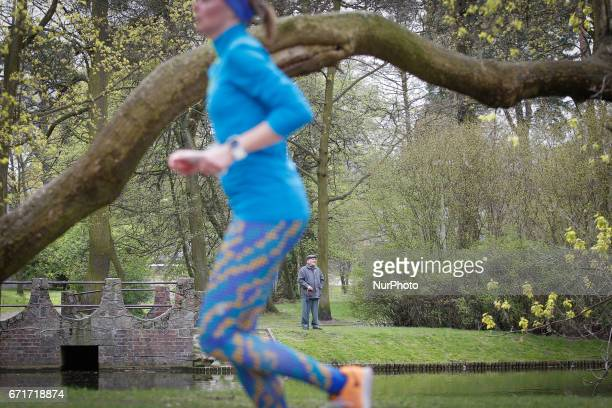 Over a hundred participants are seen comepeting in the 5 kilometer womens only race in the river park in Bydgoszcz Poland on 22 April 2017