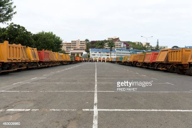 Over a hundred trucks are parked outside the local government building as part of a protest camp in Noumea set up by ContraKmine the union of New...