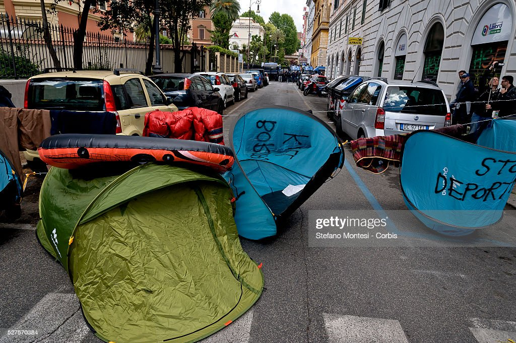 Over a thousand demonstrators march in protest against the recent EU migrant agreements made between the Turkish government and the European Union and in support of 'No Borders' and freedom of human movement near the Turkish embassy on May 1, 2016 in Rome, Italy. Police closed roads around the embassy as protestors donned life jackets and created camps of tents surrounded by barbed wire.