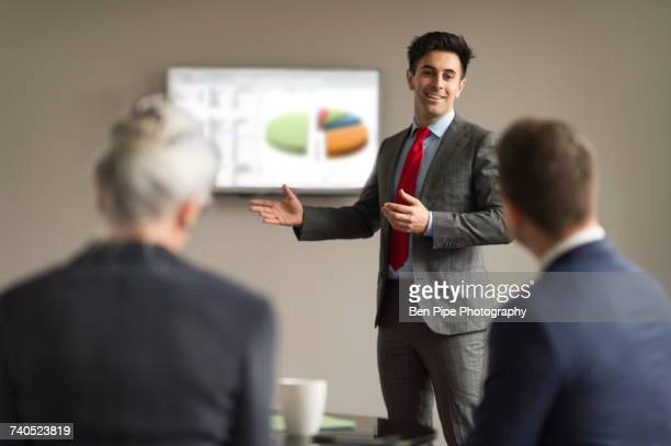 Over shoulder view of businessman making office presentation to colleagues