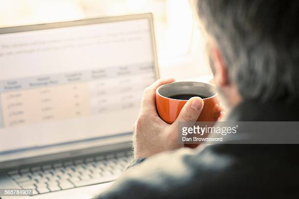 Over shoulder view of man browsing laptop at desk