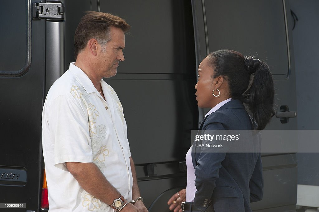 NOTICE -- 'Over The Line' Episode 13 -- Pictured: (l-r) Bruce Campbell as Sam Axe, Sonja Sohn as Olivia --