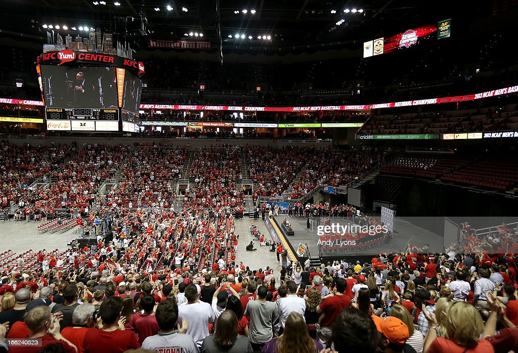 A A over view of the Louisville Cardinals NCAA Basketball Celebration to mark the NCAA championship by the Mens team and the runner-up finish by the womens team at KFC YUM! Center on April 10, 2013 in Louisville, Kentucky.