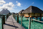 Over water resort in a tropical sea.