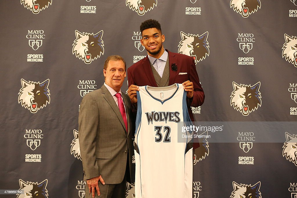2015 NBA Overall draft pick KarlAnthony Towns of the Minnesota Timberwolves is introduced to the media by President of Basketball Operations and Head...