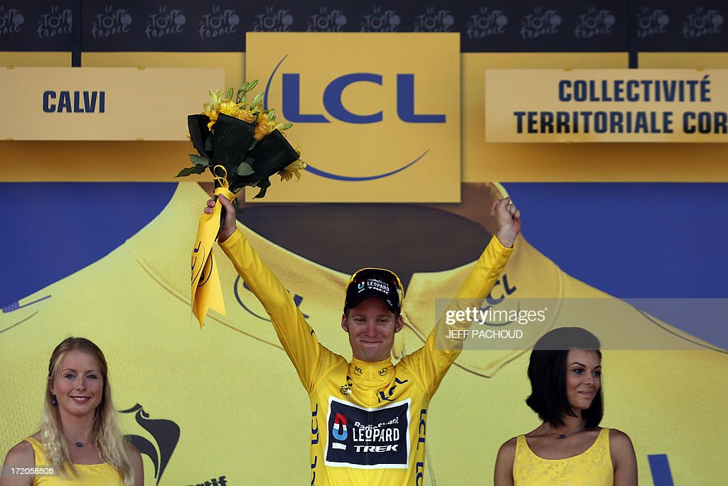 Overall leader's yellow jersey Belgium's Jan Bakelants celebrates his overall leader yellow jersey at the end of the 145.5 km third stage of the 100th edition of the Tour de France cycling race on July 1, 2013 between Ajaccio and Calvi, on the French Mediterranean Island of Corsica.