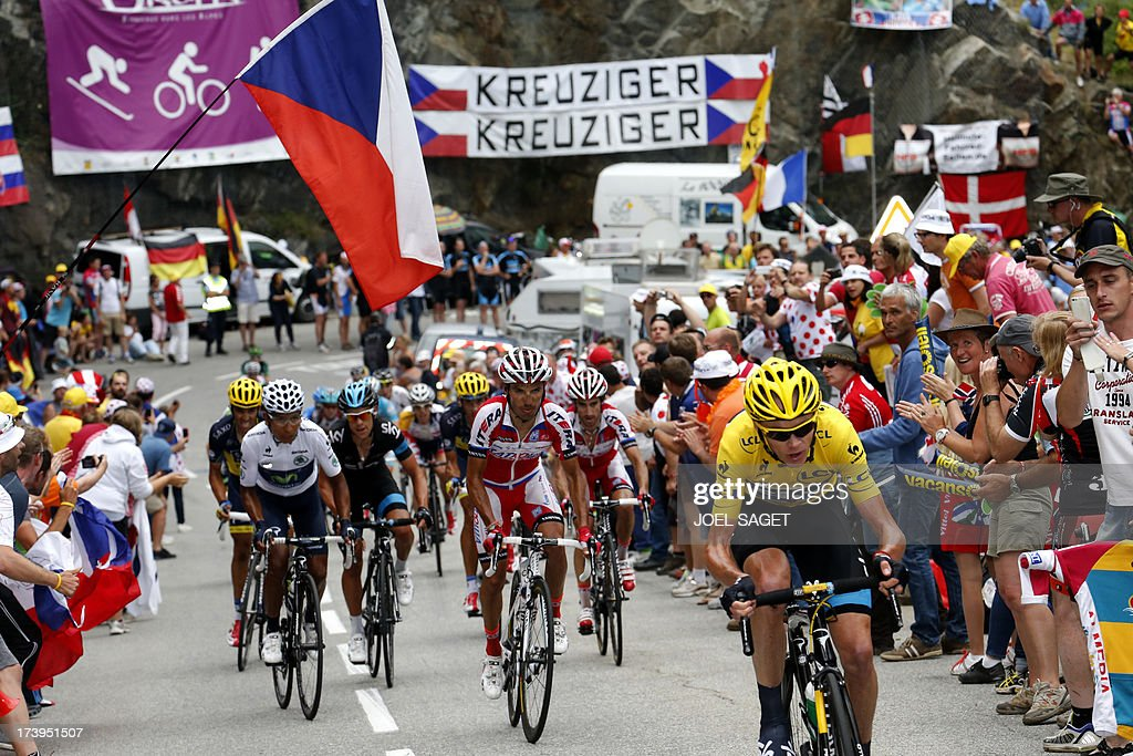 Overall leader's yellow jersey Britain's Christopher Froome (R) rides ahead of Spain's Alberto Contador (L), best young's white jersey Colombia's Nairo Quintana (2ndL), Australia's Richie Porte (3rdL) during the 172.5 km eighteenth stage of the 100th edition of the Tour de France cycling race on July 18, 2013 between Gap and Alpe-d'Huez, French Alps.