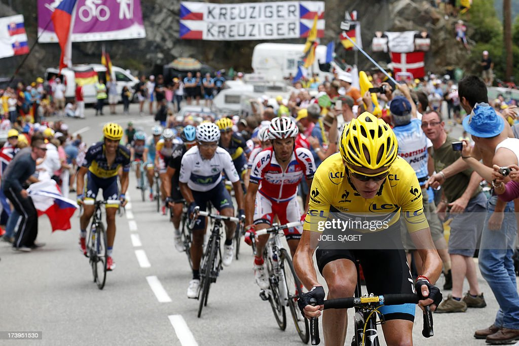 Overall leader's yellow jersey Britain's Christopher Froome (R) rides ahead of Spain's Alberto Contador (L), and best young's white jersey Colombia's Nairo Quintana (2ndL) during the 172.5 km eighteenth stage of the 100th edition of the Tour de France cycling race on July 18, 2013 between Gap and Alpe-d'Huez, French Alps.