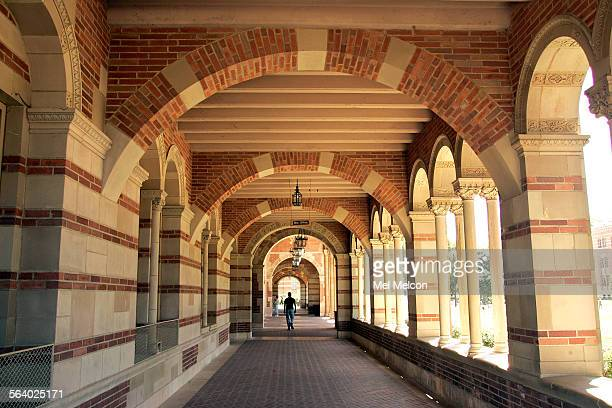 Overall of arched walkway along front entrance to Royce Hall on the UCLA campus in Westood Royce Hall named after philosopher Josiah Royce was...