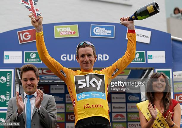 Overall race leader Sir Bradley Wiggins of Great Britain and Team Sky Procycling retains the gold jersey after stage seven of the Tour of Britain...