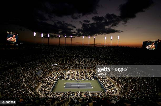 A overall view of Arthur Ashe Stadium is shown during the match between Lindsay Davenport and Anabel Medina Garrigues of Spain during the US Open at...