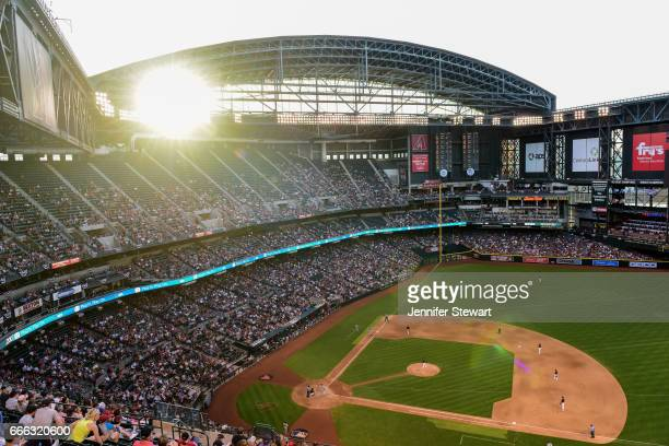 Overall view of Chase Field as Zack Greinke of the Arizona Diamondbacks delivers a pitch in the fourth inning against the Cleveland Indians at Chase...