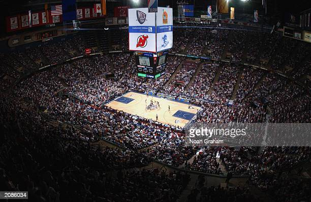 Overall view of Continental Airlines Arena during game three of the 2003 NBA Finals between the San Antonio Spurs and the New Jersey Nets at...