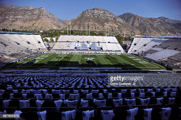 Overall view of LaVell Edwards Stadium before the game between the Boise State Broncos and Brigham Young Cougars on September 12 2015 in Provo Utah