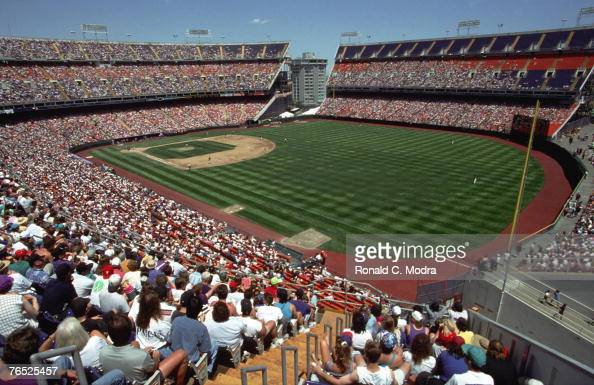 Overall view of Mile High Stadium during a MLB game between the Philadelphia Phillies and the Colorado Rockies in May 1993 in Denver Colorado