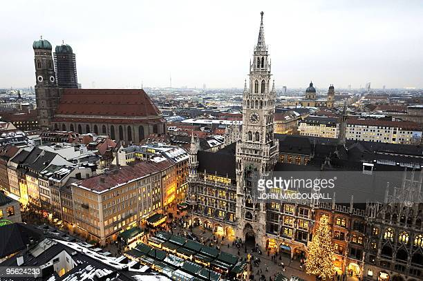 Overall view of Munich's Marienplatz featuring the town hall and the Frauenkirche taken on December 14 2009 During the December Christmas market...