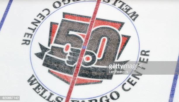 A overall view of the center ice 50th Anniversary Logo of the Philadelphia Flyers during a NHL game against the Pittsburgh Penguins on October 29...