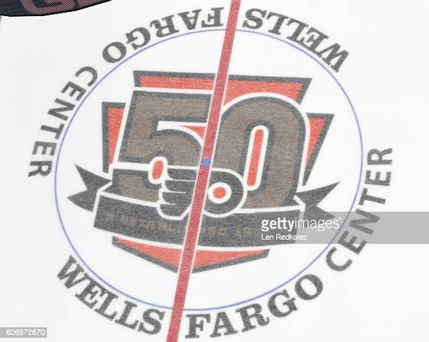 A overall view of the center ice 50th Anniversary logo of the Philadelphia Flyers during their game against the New York Rangers on November 25 2016...