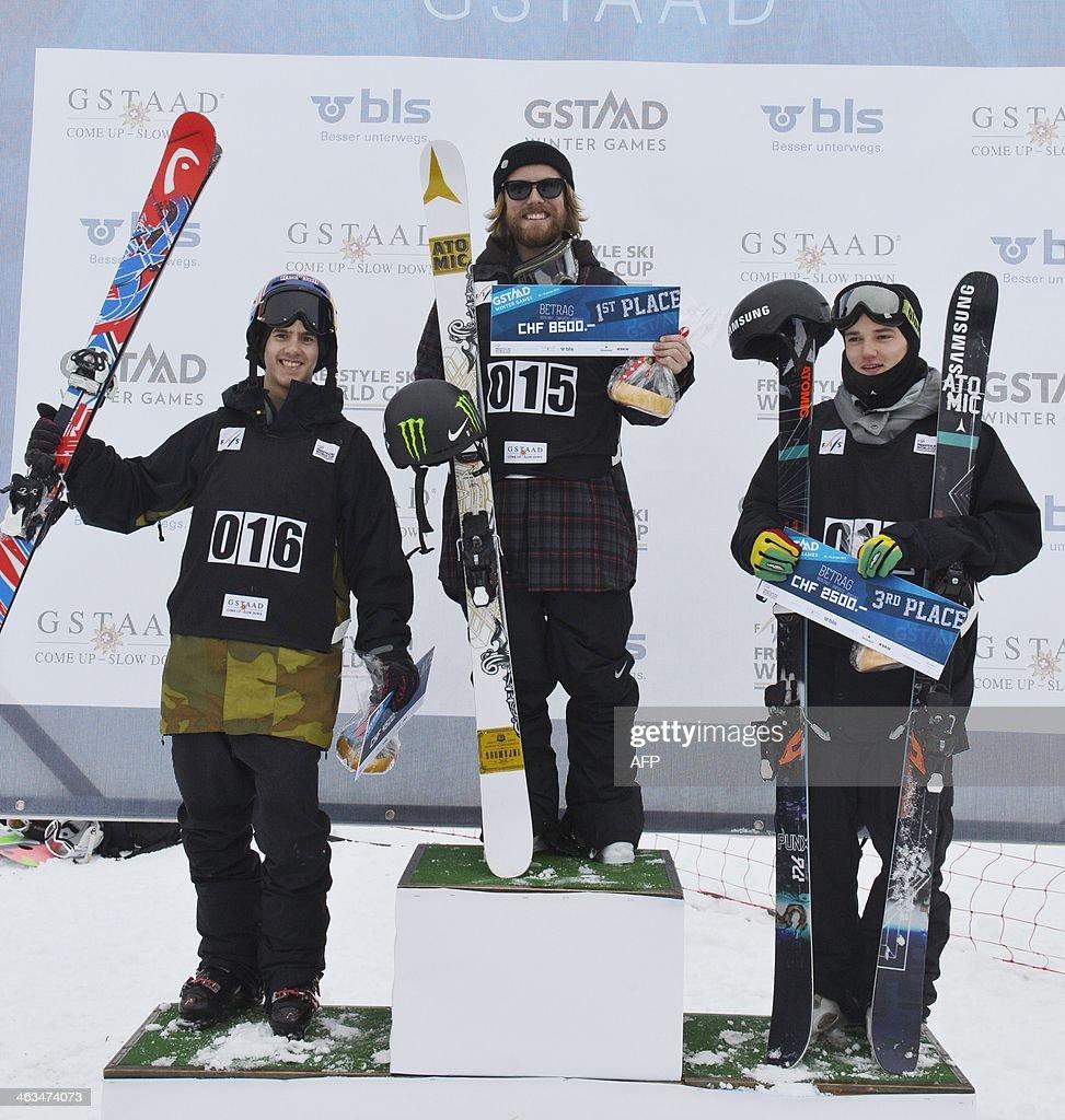 Overall winner Josiah Wells of New Zealand poses on the podium alongside secondplace winner Jesper Tjader of Sweden and thirdplace winner Fabian...