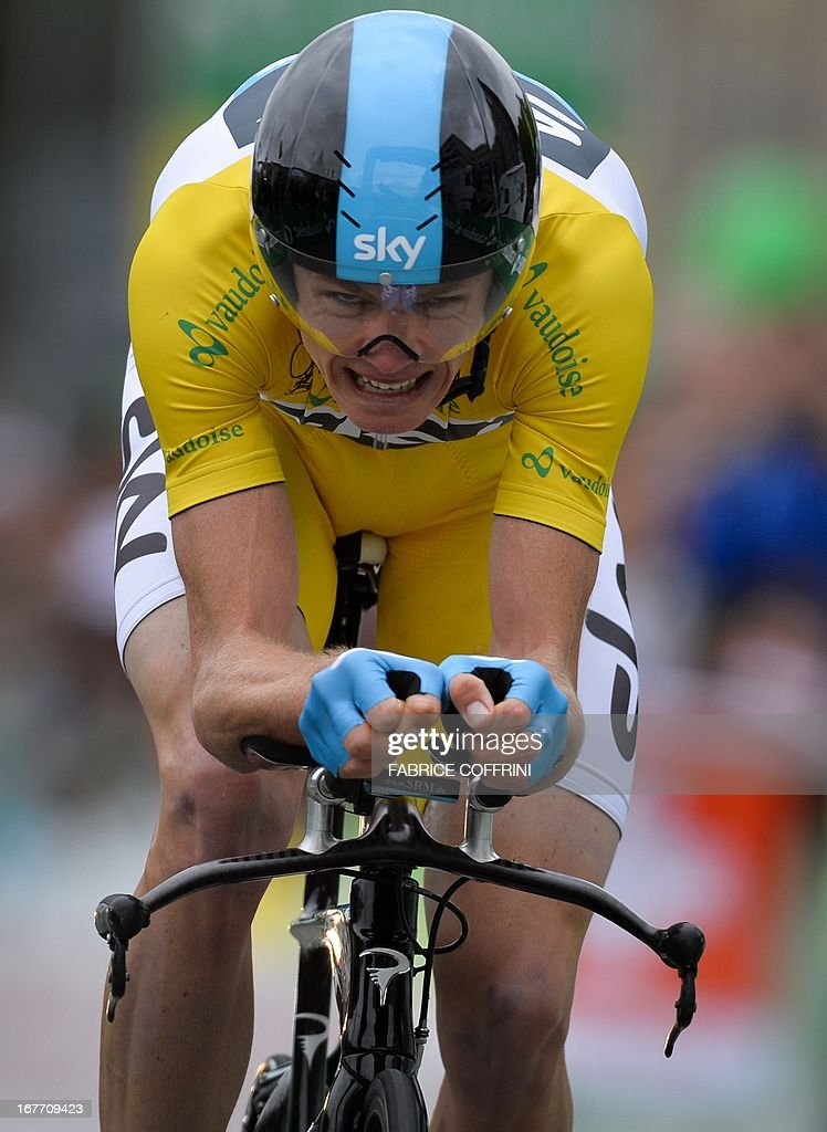 Overall winner of the Tour de Romandie, Christopher Froome of Great Britain rides the final stage, a 18,7 km race against the clock, on April 28, 2013 in Geneva.