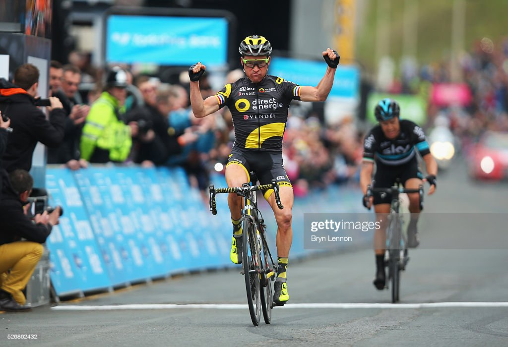 Overall winner <a gi-track='captionPersonalityLinkClicked' href=/galleries/search?phrase=Thomas+Voeckler&family=editorial&specificpeople=212948 ng-click='$event.stopPropagation()'>Thomas Voeckler</a> of Direct Energie and France celebrates winning the third stage of the 2016 Tour de Yorkshire between Middlesbrough and Scarborough on May 1, 2016 in Scarborough, England.