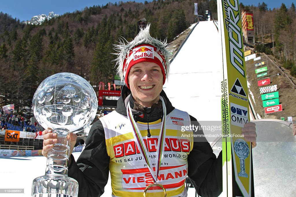 Overall World Cup Winner <a gi-track='captionPersonalityLinkClicked' href=/galleries/search?phrase=Thomas+Morgenstern&family=editorial&specificpeople=221616 ng-click='$event.stopPropagation()'>Thomas Morgenstern</a> of Austria poses during the Ski Flying Individual Competition in the FIS World Cup Ski Jumping on March 20, 2011 in Planica, Slovenia.