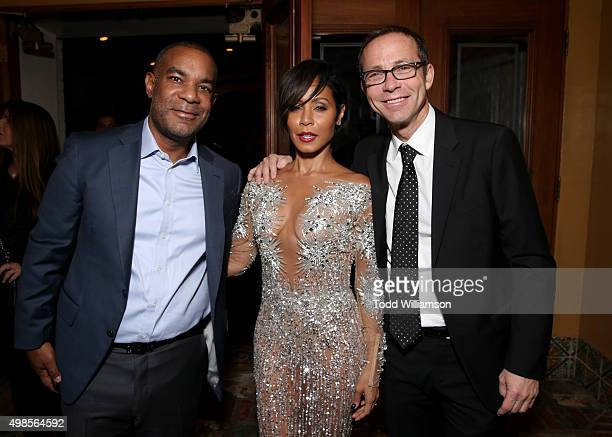 Overbrook Entertainment CoFounder/Partner James Lassiter Jada Pinkett Smith and CAA's Richard Lovett attend a screening Of Columbia Pictures'...