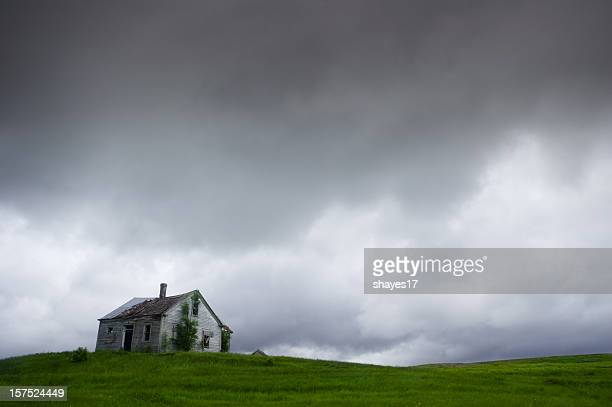 Overcast abandoned house