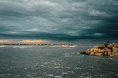 Overcast sea in Rimini
