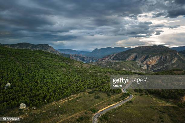 Overcast sky over mountain landscape