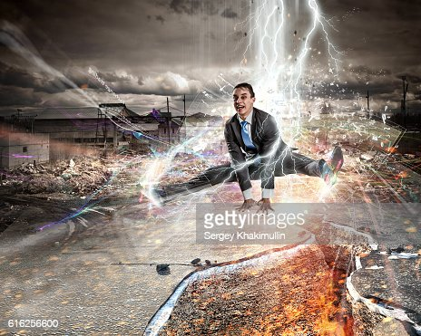 Overcome crisis break . Mixed media : Stock Photo