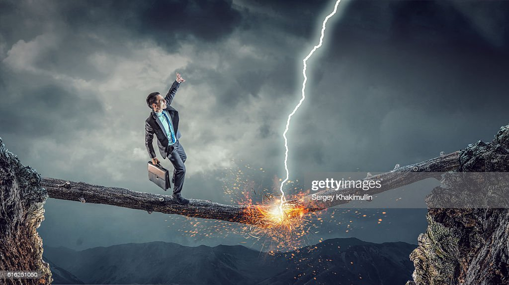Overcome fear of failure . Mixed media : Stock Photo