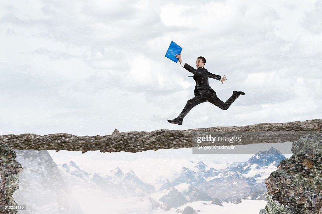 Overcome fear of failure . Mixed media : Stock Photo