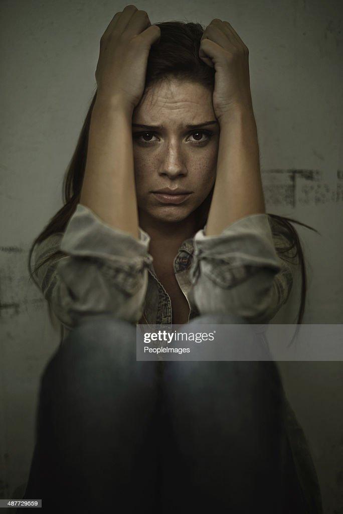 Overcoming her own demons : Stock Photo