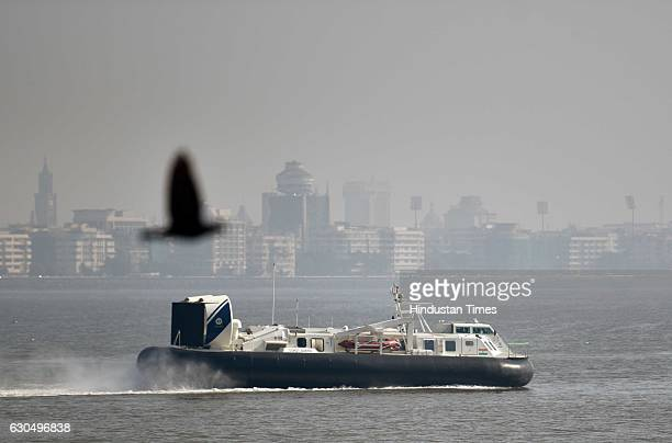 Overcraft carrying Prime Minister Narendra Modi to lay the foundation of the Shiv Smarak in the Arabian Sea on December 24 2016 in Mumbai India PM...