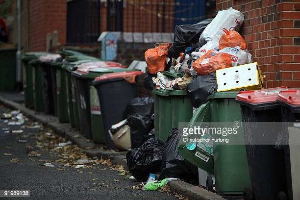 Overflowing refuse bins litter the streets in the Headingley area of Leeds on October 19 2009 in Leeds England A strike by bin men in Leeds is now...