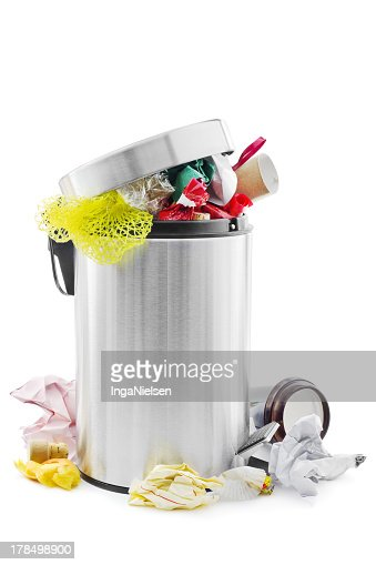 Overflowing stainless steel trash can : Stock Photo