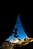 Overhang climbing silhouette