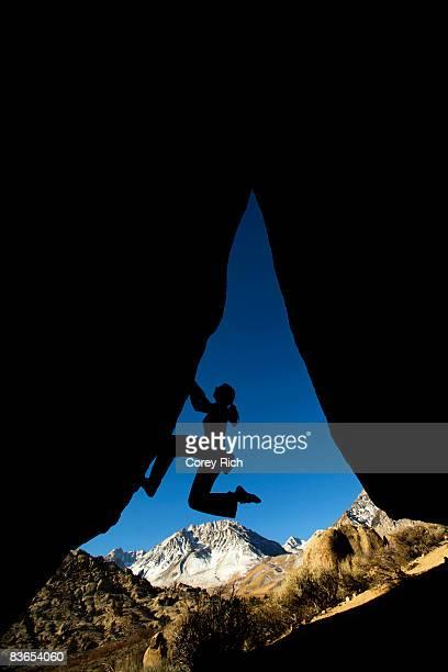 Overhang climbing silhouette