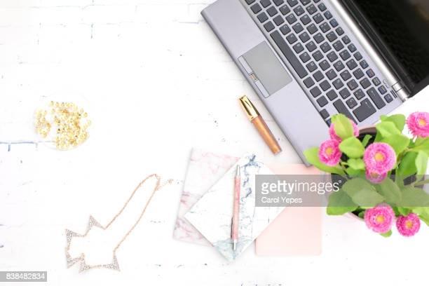 overhead laptop studio desk