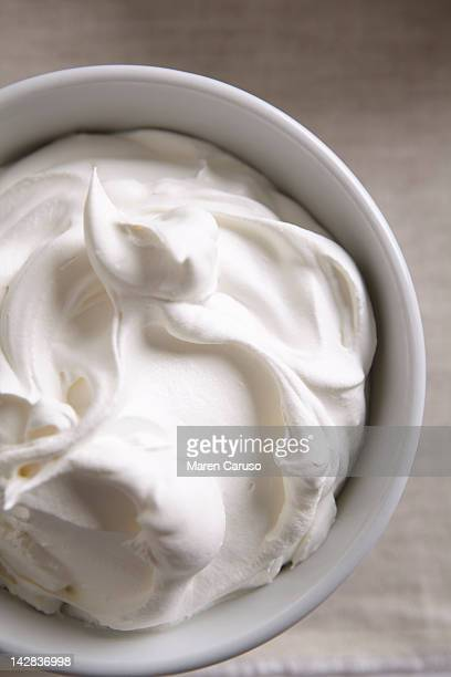 Overhead of a bowl of whipped cream