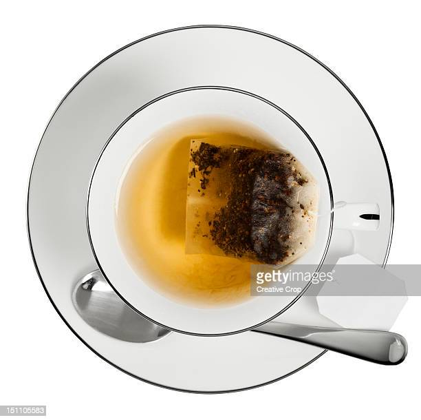 Overhead of a cup of tea with tea bag