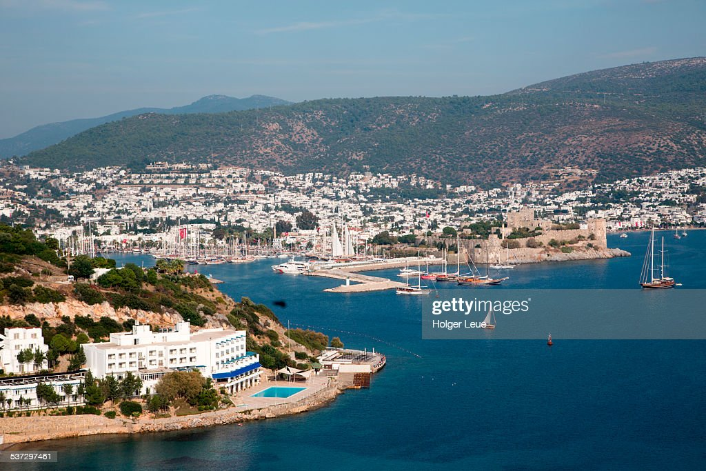 Overhead of Bodrum Bay with Castle of St. Peter : Stock Photo